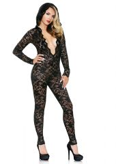 Mia Lace Hooded Jumpsuit Black M/L