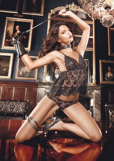 Flower Lace Babydoll Set One Size Black