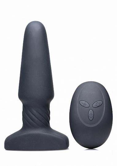 Slim R Smooth Rimming Plug with Remote Control - Black