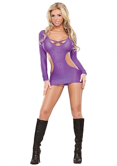 Cut Out Dress & G-String - Purple