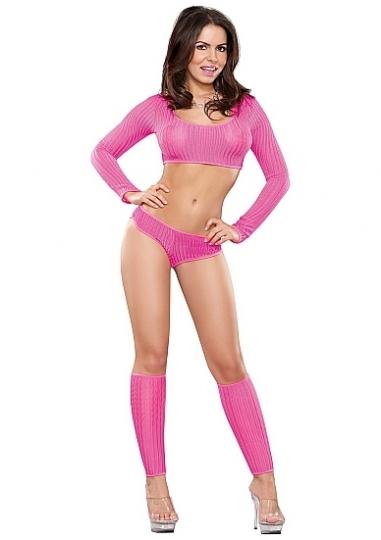 Crop Top, Boy Short & Leg Warmer Set - Pink- Size Large