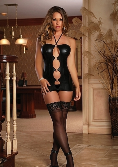 Front Ring Dress & G-string - Black