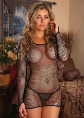 Long Sleeve Dress & G-string - Black