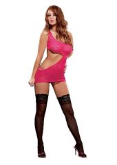 Cut Out One Shoulder Dress & G-String Set - Pink