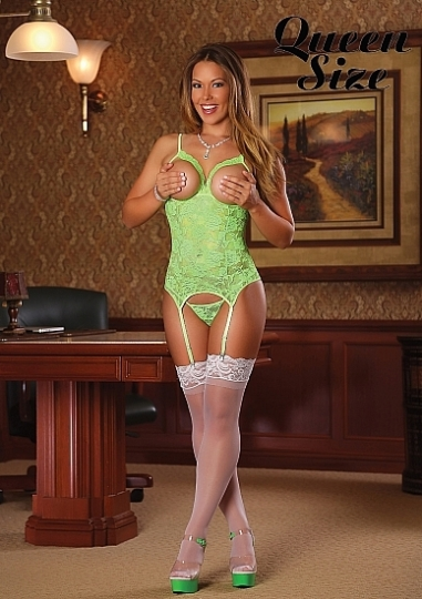 Cupless Merry Widow & G-string - Lime