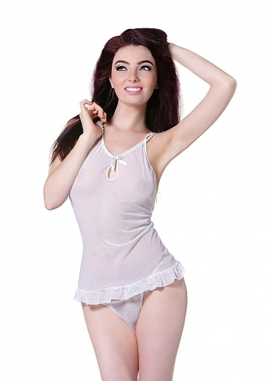 Babydoll with Pink Ribbon & String - White / Pearls