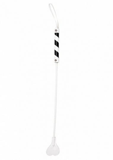 Heart Tipped Crop - PVC - White / Black